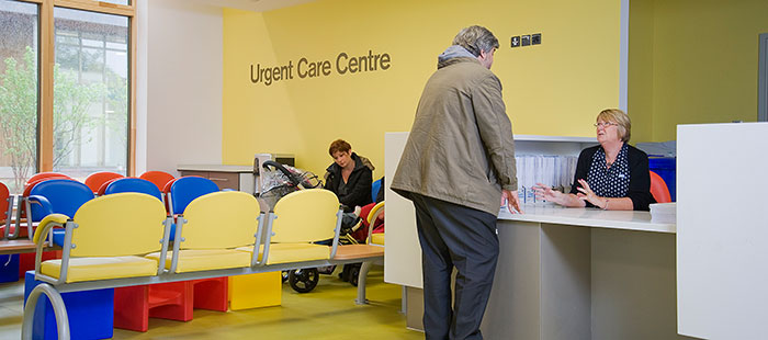 Photo of the urgent care centre recption and waiting area
